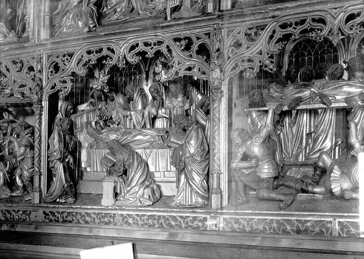 Retable de la Vierge, haut-relief, travail anversois, en bois doré : la Dormition