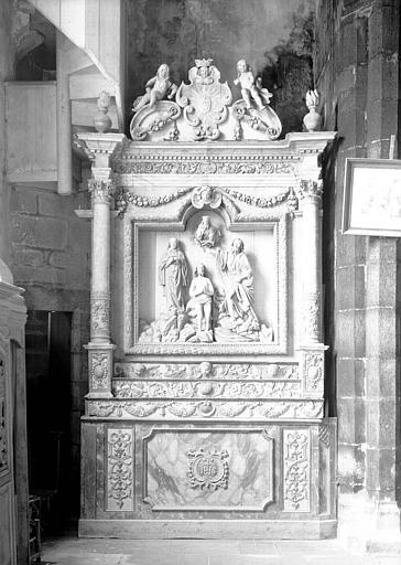 Retable du Baptême du Christ et autel, bois sculpté et peint
