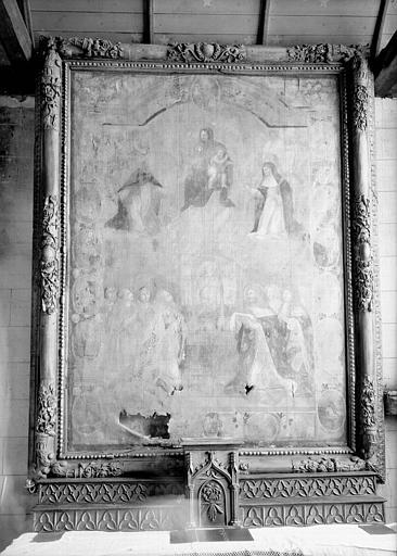 Peinture sur toile avec cadre en bois sculpté : Voeu de Louis XIII