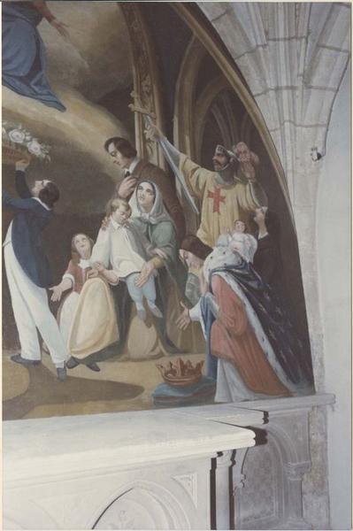 Peinture monumentale: Don de la Vierge à la France, vue partielle