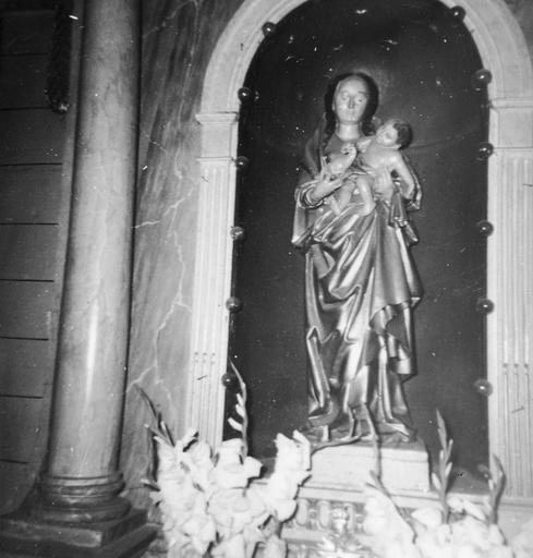 Statue : Vierge à l'Enfant, pierre polychrome