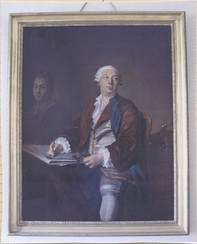 Tableau : autoportrait du peintre Jacques Aved à l'âge de 50 ans