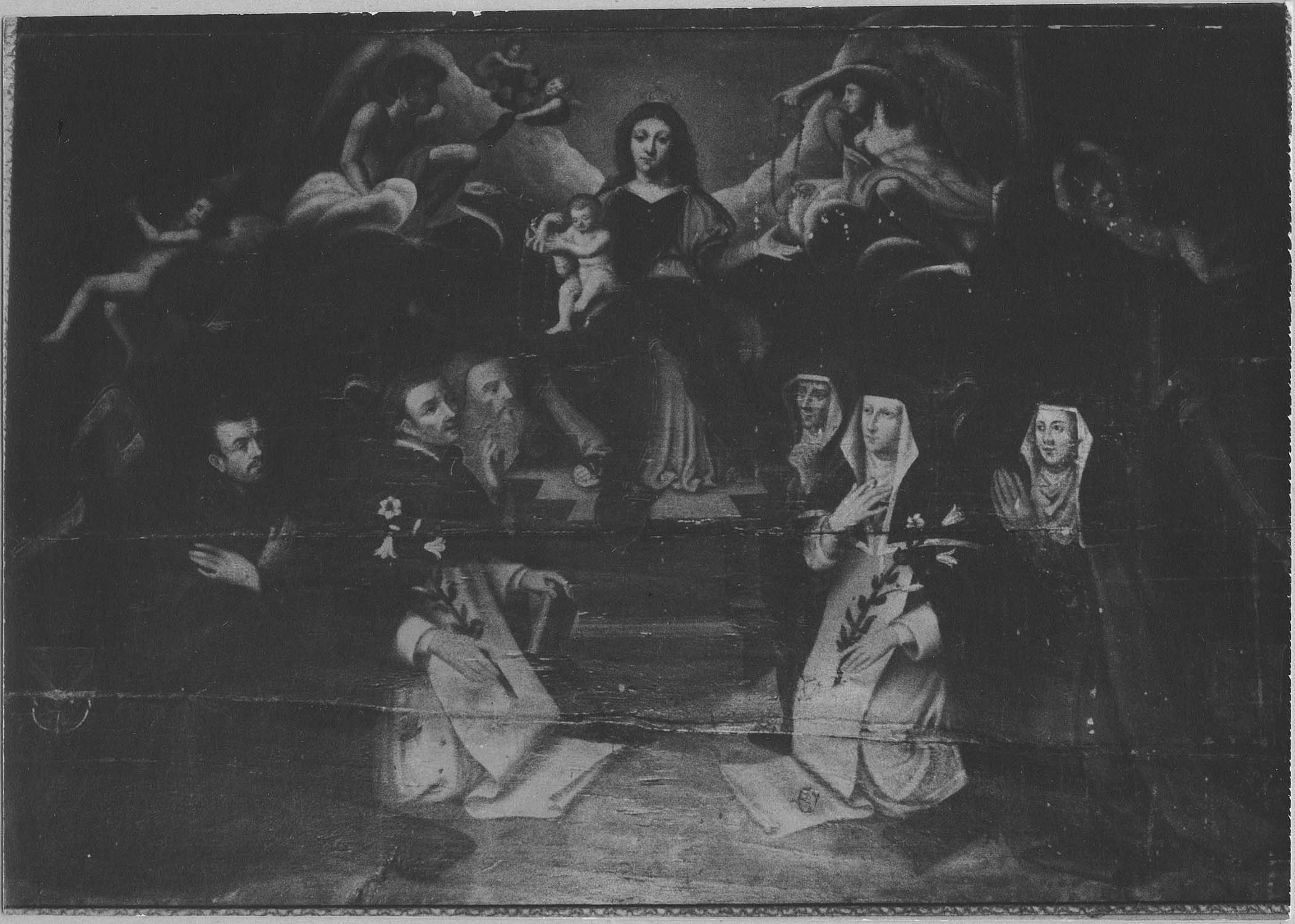 tableau : l'Institution du Rosaire avec saint Dominique, sainte Catherine-de-Sienne et des donateurs