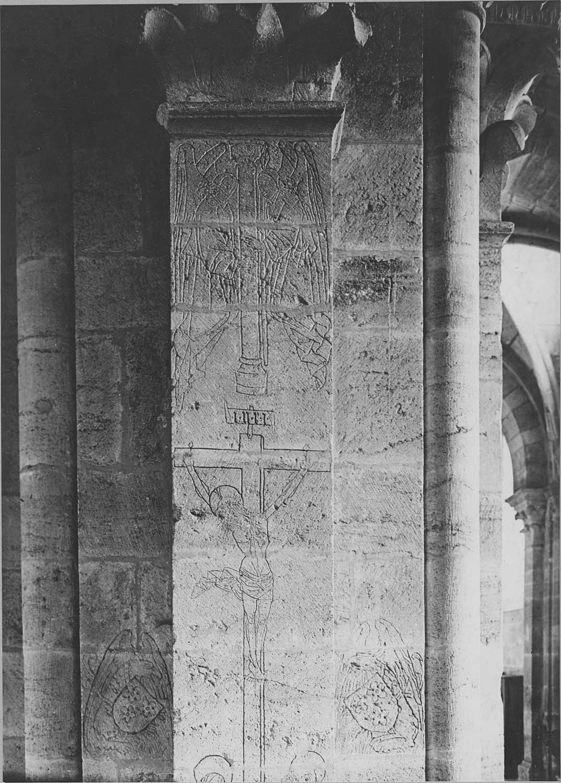 Groupe sculpté : Saint Paul, avec un angelot porteur d'un phylactère