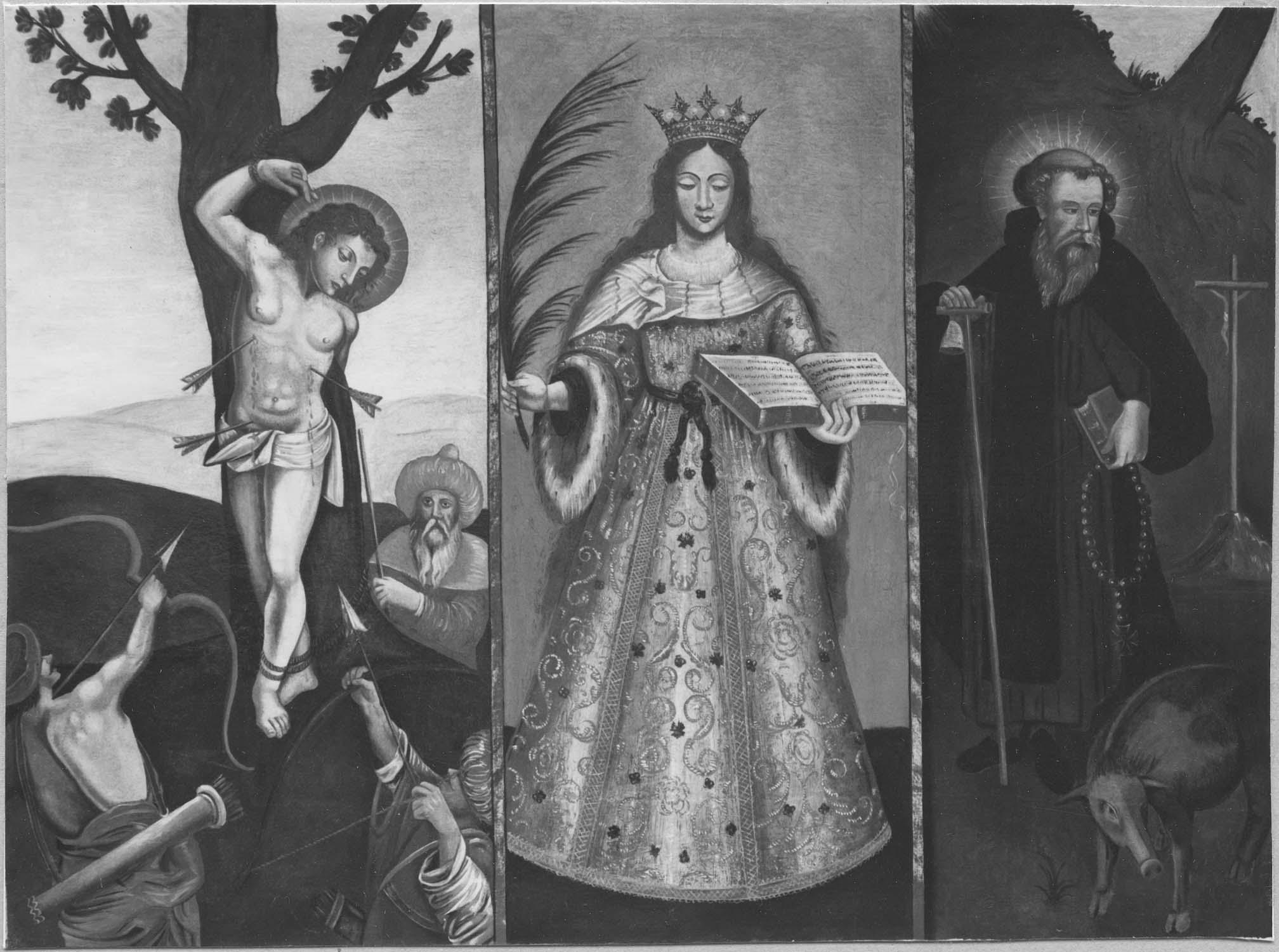 Tableau style populaire : Saint Sébastien, sainte Catherine et saint Antoine
