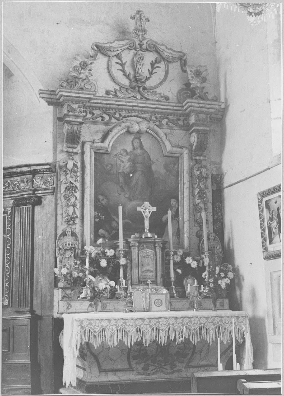 Autel, retable, gradin d'autel, tabernacle, tableau : l'Institution du rosaire