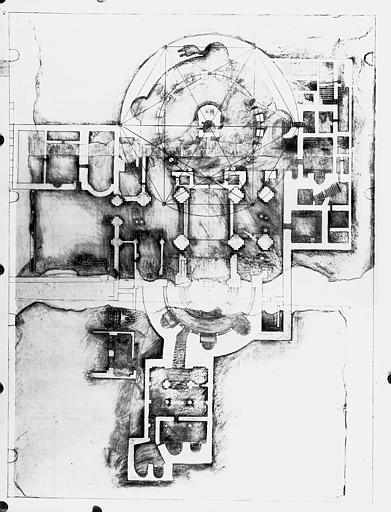 Frottis du plan découvert en septembre 1952 au revers du dallage de la basilique Saint-Denis représentant le Saint-Sépulcre de Jérusalem
