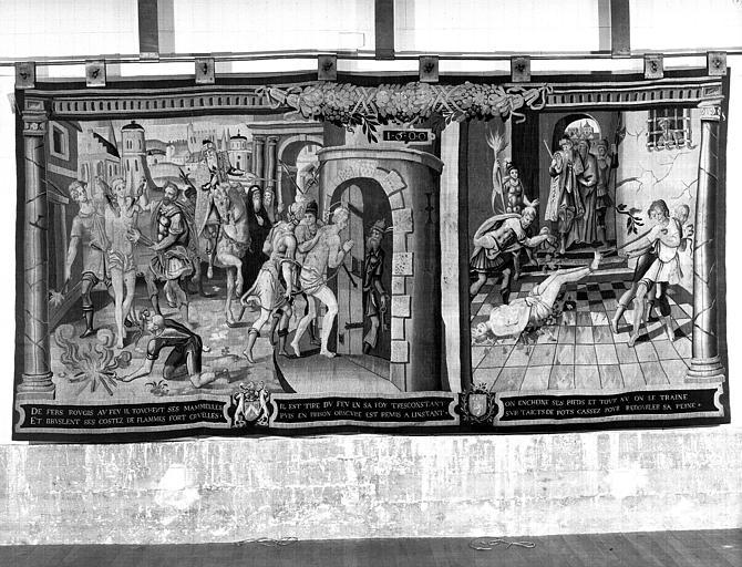 Tapisserie : Martyre de saint, deux scènes