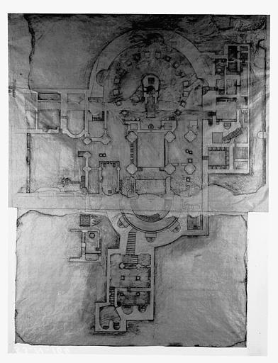 Frottis du plan du Saint-Sépulcre trouvé devant le portail nord en septembre 1952, d'après un relevé du révérend-père B. Amico