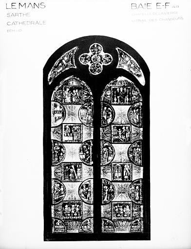 Photomontage de vitrail : chapelle de la Vierge baie FE, les Changeurs