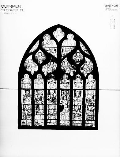 Photomontage de vitrail : baie 109, saints et donateurs