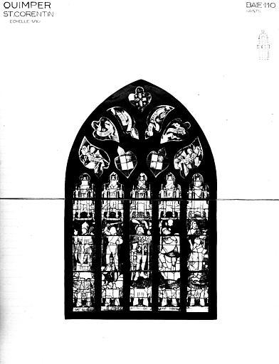 Photomontage de vitrail : baie 110, saints et donateurs