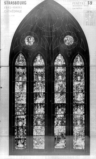 Photomontage de vitrail : baie XXXIX, saintes diverses