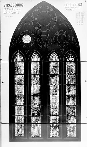Photomontage de vitrail : baie XLII, saintes diverses