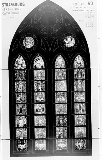 Photomontage de vitrail : baie L, diacres et papes