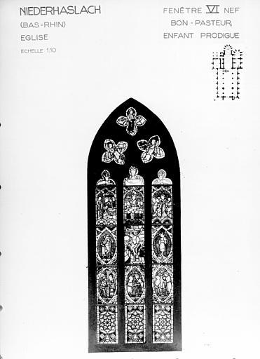 Photomontage de vitrail : baie VI, Bon Pasteur et Enfant Prodigue