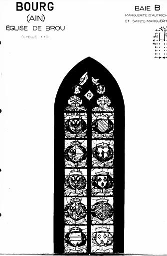 Photomontage de vitrail : baie B, Marguerite d'Autriche et sainte Marguerite, partie supérieure