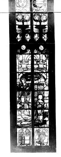Photomontage de vitrail : baie B, Marguerite d'Autriche et sainte Marguerite, partie inférieure