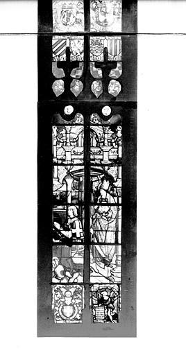 Photomontage de vitrail : baie D, Philibert de Savoie et saint Philibert, partie inférieure