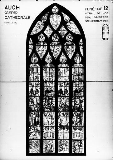 Photomontage de vitrail : baie 12, Noé, Sem, saint Pierre et la sibylle Erythrée