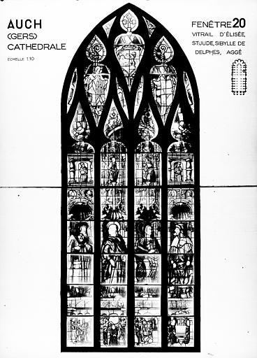 Photomontage de vitrail : baie 20, Elisée, Jude, sibylle de Delphes, Aggée