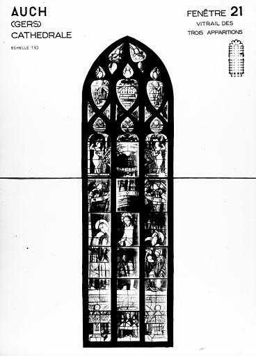 Photomontage de vitrail : baie 21, les Trois apparitions du Christ glorieux