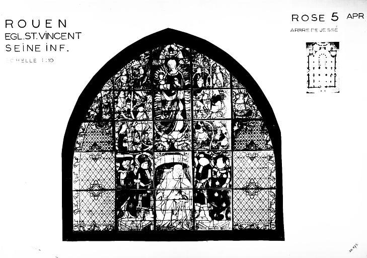 Photomontage de vitrail : rose 5, Arbre de Jessé, état après restauration