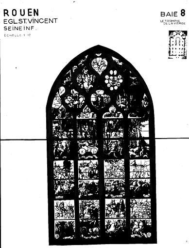 Photomontage de vitrail : baie 8, le Triomphe de la Vierge