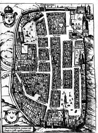 Plan perspectif de l'ensemble de la Cité, Château Dun en deux cans Orléanois
