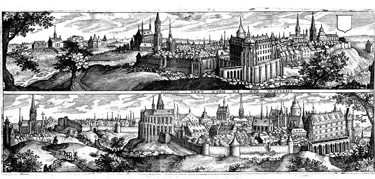 Gravure représentant la ville et le château