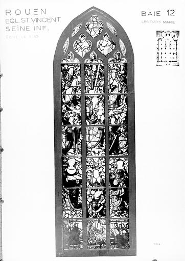 Photomontage de vitrail : baie 12, les Trois Maries