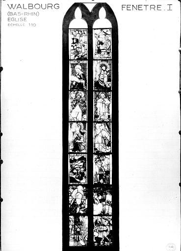 Photomontage de vitrail : baie 1, scènes diverses