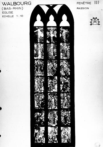 Photomontage de vitrail : baie 3, Passion