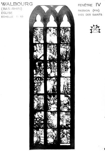 Photomontage de vitrail : baie 4, Passion et vie de saints