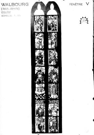 Photomontage de vitrail : baie 5, saints divers
