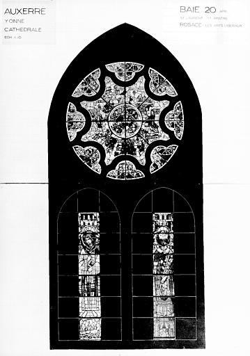 Photomontage de vitrail : baie 20, saint Laurent, saint, les Arts libéreaux