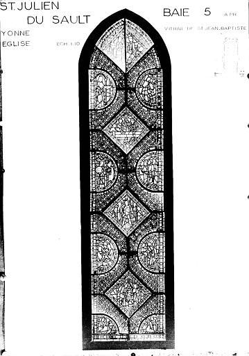 Photomontage de vitrail : baie 5, Vie de saint Jean-Baptiste, état après restauration