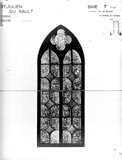 Photomontage de vitrail : baie 7, saint Blaise, saint Pierre, saint Paul, état avant restauration
