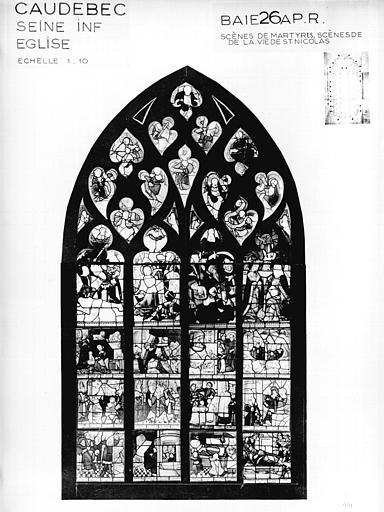 Photomontage de vitrail : baie 26, Scènes de Martyres et Vie de saint Nicolas, état après restauration