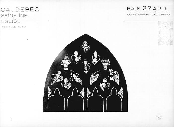 Photomontage de vitrail, baie 27 au tympan : Couronnement de la Vierge, état après restauration