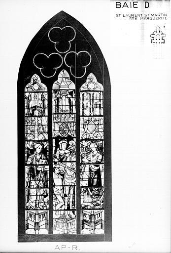 Photomontage de vitrail : baie D, saint Laurent, saint Martin et sainte Marguerite, état après restauration
