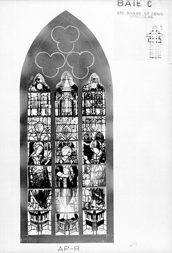 Photomontage de vitrail : baie C, sainte Barbe, saint Denis, saint Nicolas, état après restauration