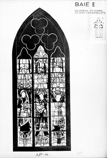 Photomontage de vitrail : baie E, la Vierge, saint André et saint Jean l'évangéliste, état après restauration