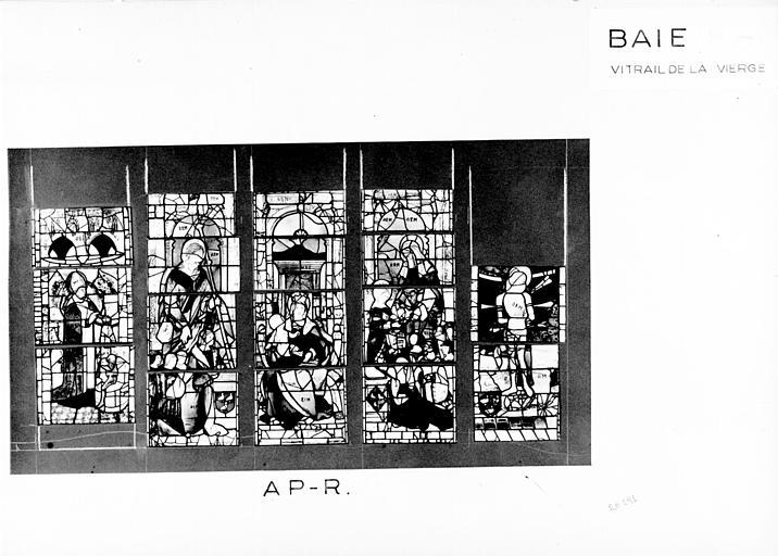 Photomontage de vitrail : baie M, Scènes de la vie de la Vierge, état après restauration