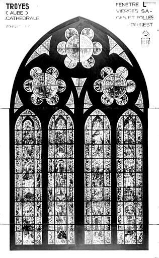 Photomontage de vitrail : baie L, Vierges sages et folles, état après restauration