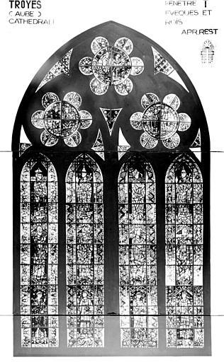 Photomontage de vitrail : baie T, évêques et rois, état après restauration