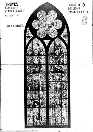 Photomontage de vitrail : baie O, saint Jean l'évangéliste, état après restauration