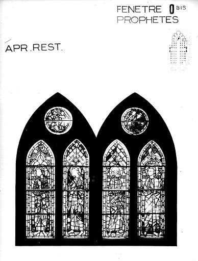 Photomontage de vitrail : baie O bis, prophètes, état après restauration