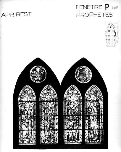 Photomontage de vitrail : baie P bis, prophètes, état après restauration
