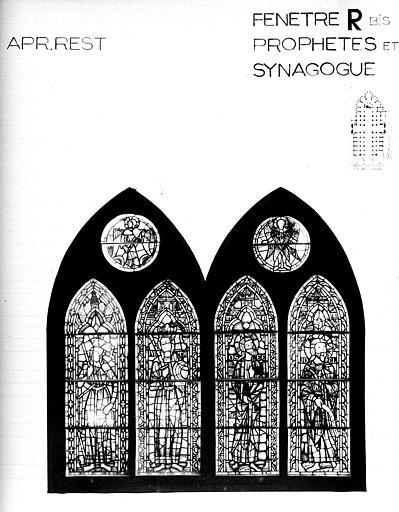 Photomontage de vitrail : baie R bis, prophètes et la Synagogue, état après restauration